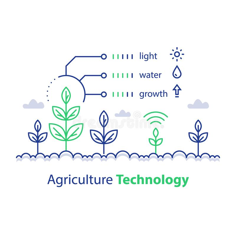 Cultivo, tecnología de la agricultura, tronco e informe de condiciones elegantes, concepto infographic, control de la planta del  stock de ilustración