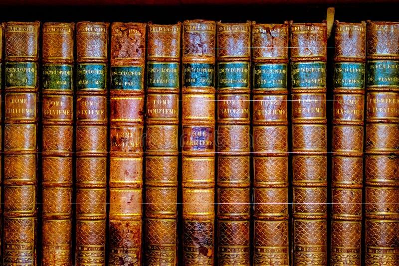 Cultualerfenis, boeken in het kasteelbibliotheek van Leeds stock afbeelding