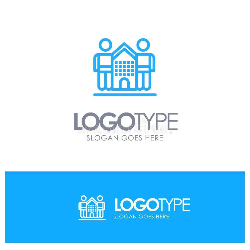 Cultura, amistosa, amigos, hogar, logotipo azul del esquema de la vida con el lugar para el tagline ilustración del vector