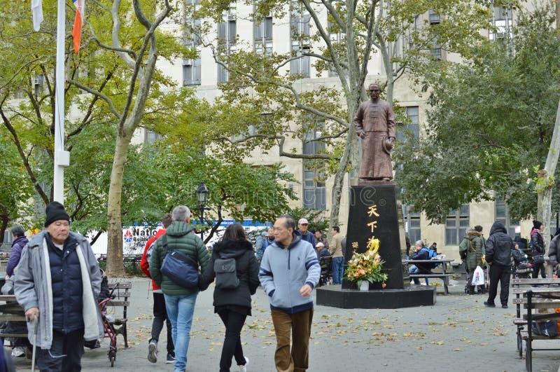 Cultura china de la forma de vida de la gente de Columbus Park New York City Chinatown imágenes de archivo libres de regalías