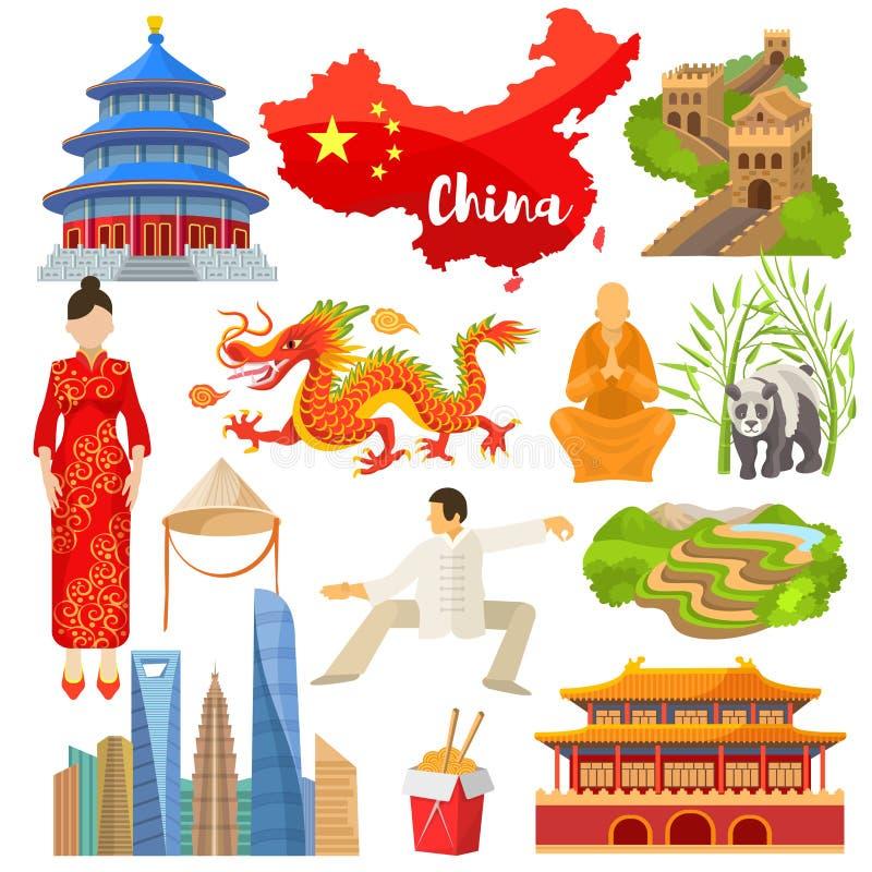 Cultura chinesa do vetor de China em Ásia e em Grande Muralha do grupo da ilustração de China de dragão asiático da panda dos sím ilustração royalty free