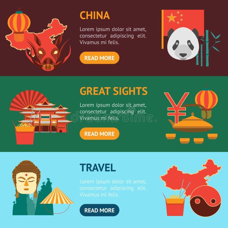 Cultura chinesa dos desenhos animados e grupo horizontal da bandeira do turismo Vetor ilustração royalty free