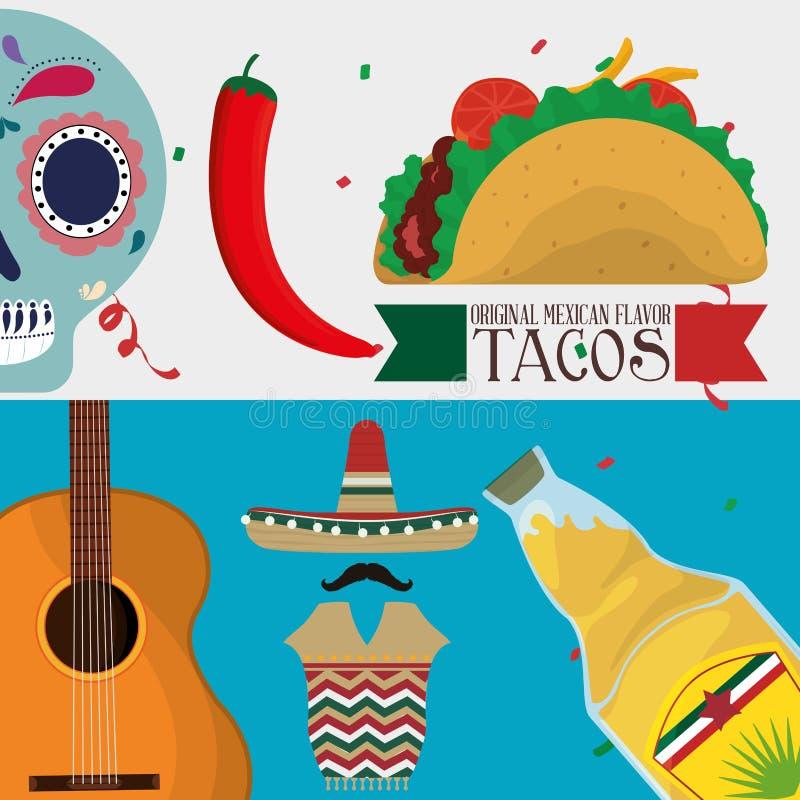 Cultura de México e projeto do marco ilustração royalty free