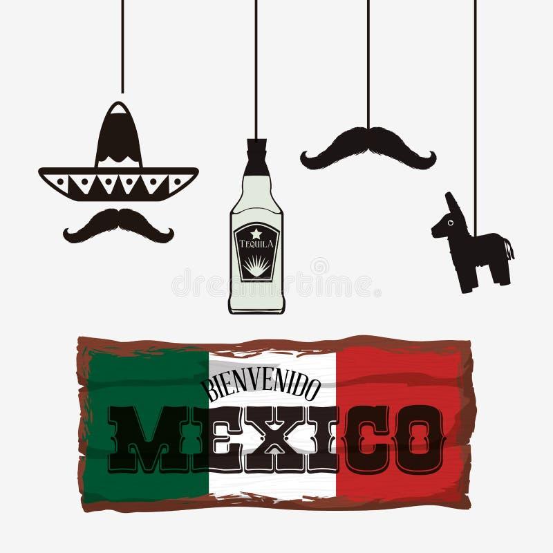Cultura de México y diseño de la señal ilustración del vector