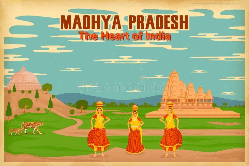 Cultura de Madhya Pradesh ilustración del vector