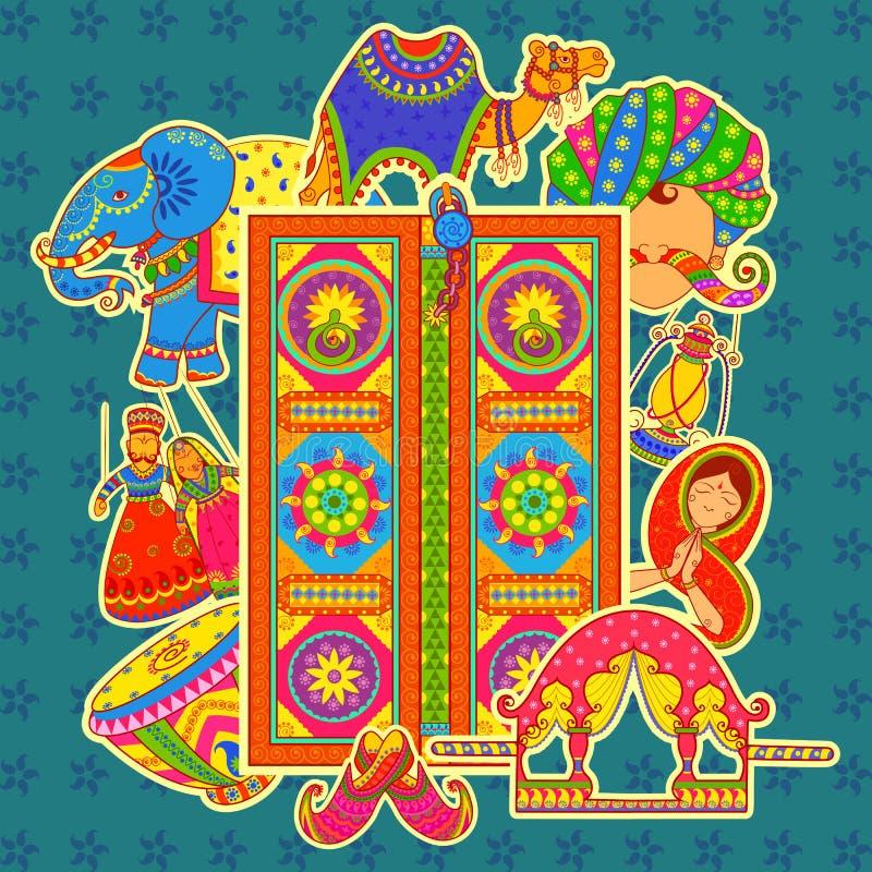 Cultura de Rajasthan no estilo indiano da arte ilustração royalty free