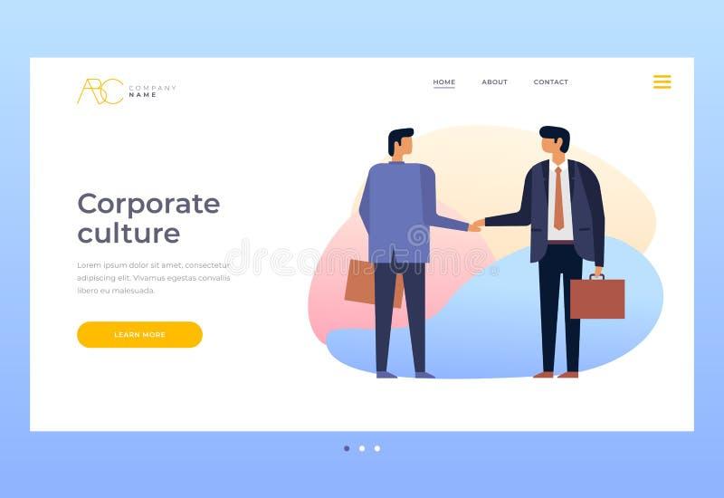 Cultura de relaciones corporativas Hombres de negocios que sacuden las manos Relaciones de socios en negocio ilustración del vector