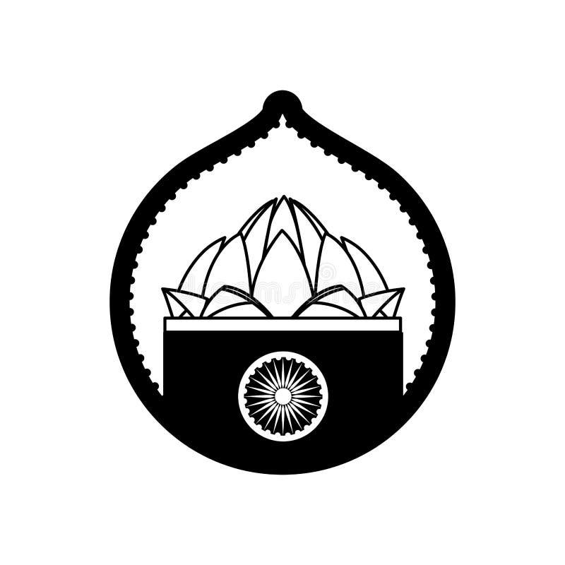 Cultura del indio de la flor de loto del sello ilustración del vector