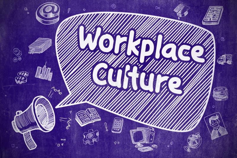 Cultura del posto di lavoro - illustrazione del fumetto sulla lavagna blu illustrazione di stock
