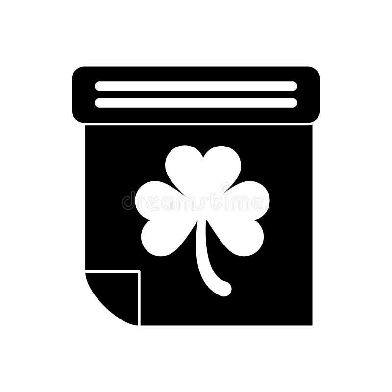Cultura dell'Irlandese di giorno di St Patrick del trifoglio del calendario della siluetta illustrazione di stock