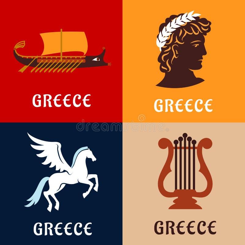 Cultura della Grecia, storia ed icone di mitologia illustrazione vettoriale