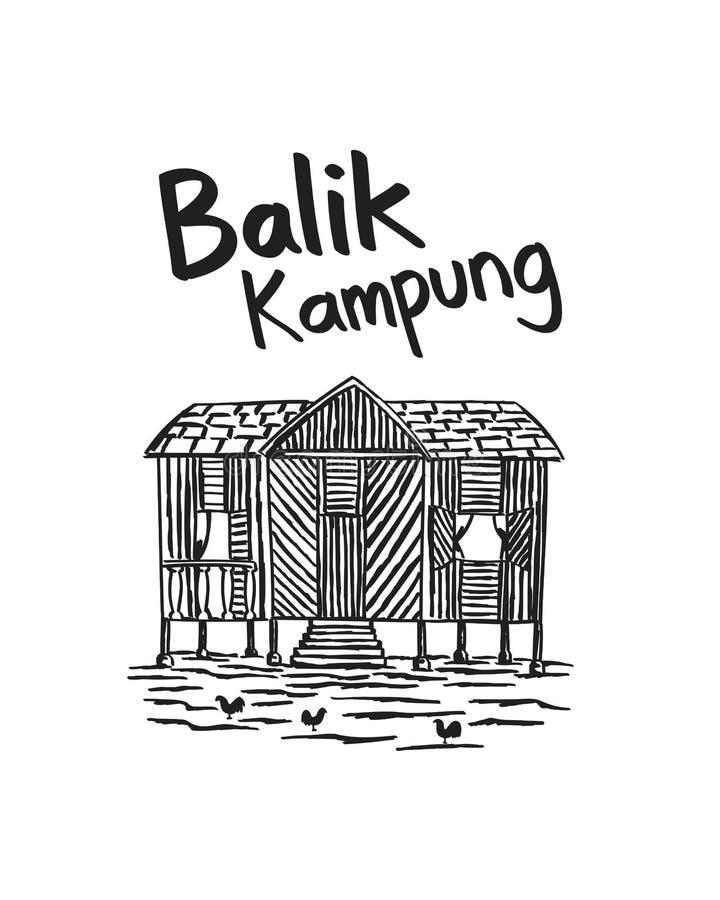 Cultura dibujada mano de Malasia del kampung del balik imagen de archivo libre de regalías