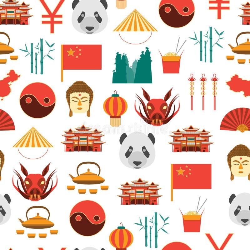 Cultura dos desenhos animados e teste padrão chineses do fundo do turismo em um branco Vetor ilustração stock
