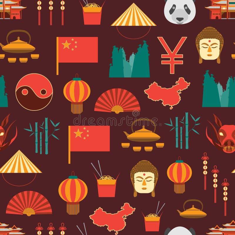 Cultura dos desenhos animados e teste padrão chineses do fundo do turismo em um vermelho Vetor ilustração stock