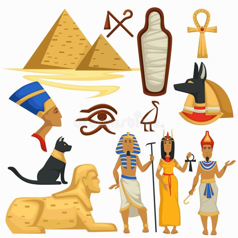 Cultura egipcia de las pirámides y de la esfinge de los símbolos de Egipto que viaja stock de ilustración