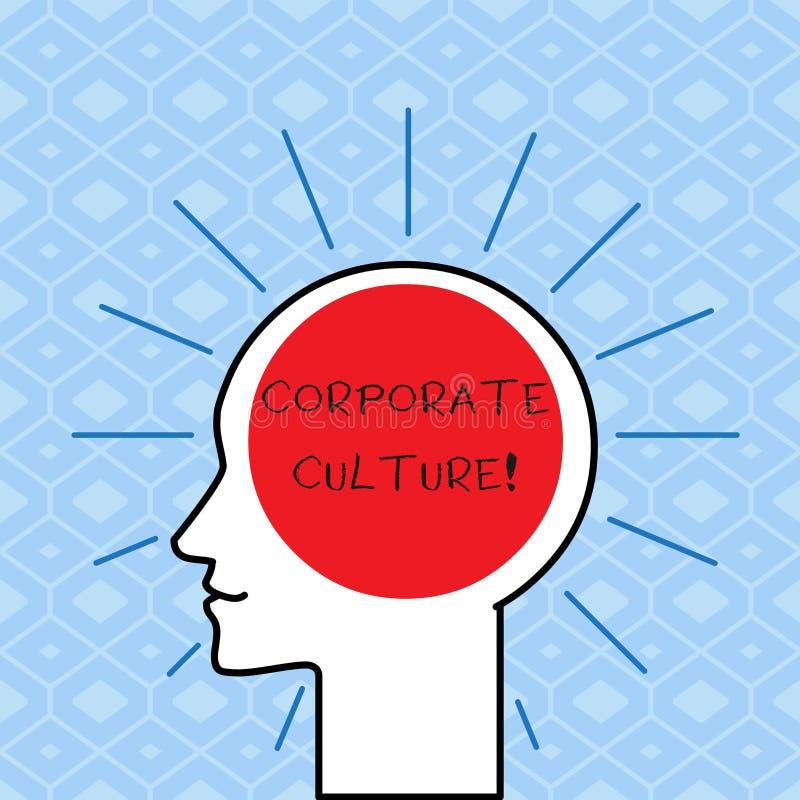 Cultura empresarial da escrita do texto da escrita Conceito que significam opiniões e atitudes que caracterizam um esboço da empr ilustração stock