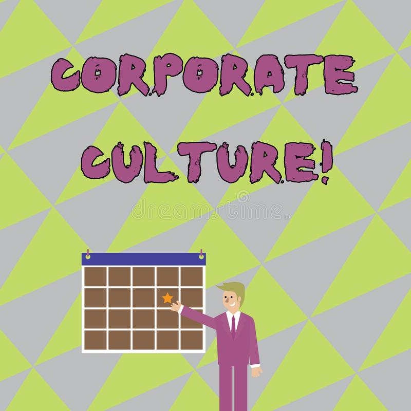 Cultura empresarial da escrita do texto da escrita Conceito que significam opiniões e atitudes que caracterizam uma empresa ilustração royalty free