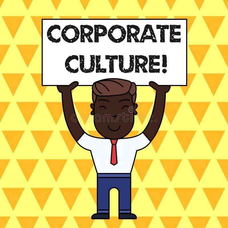 Cultura empresarial do texto da escrita Conceito que significam opiniões e atitudes que caracterizam um homem de sorriso da empre ilustração stock
