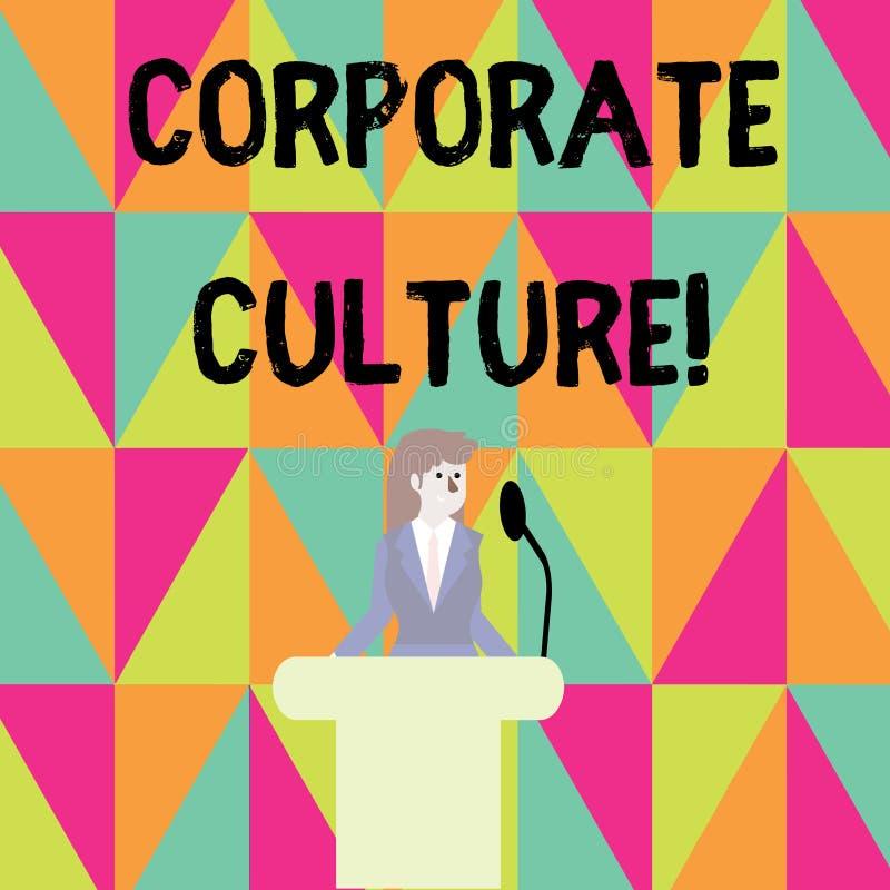 Cultura empresarial do texto da escrita da palavra Conceito do negócio para opiniões e atitudes que caracterizam uma empresa ilustração royalty free