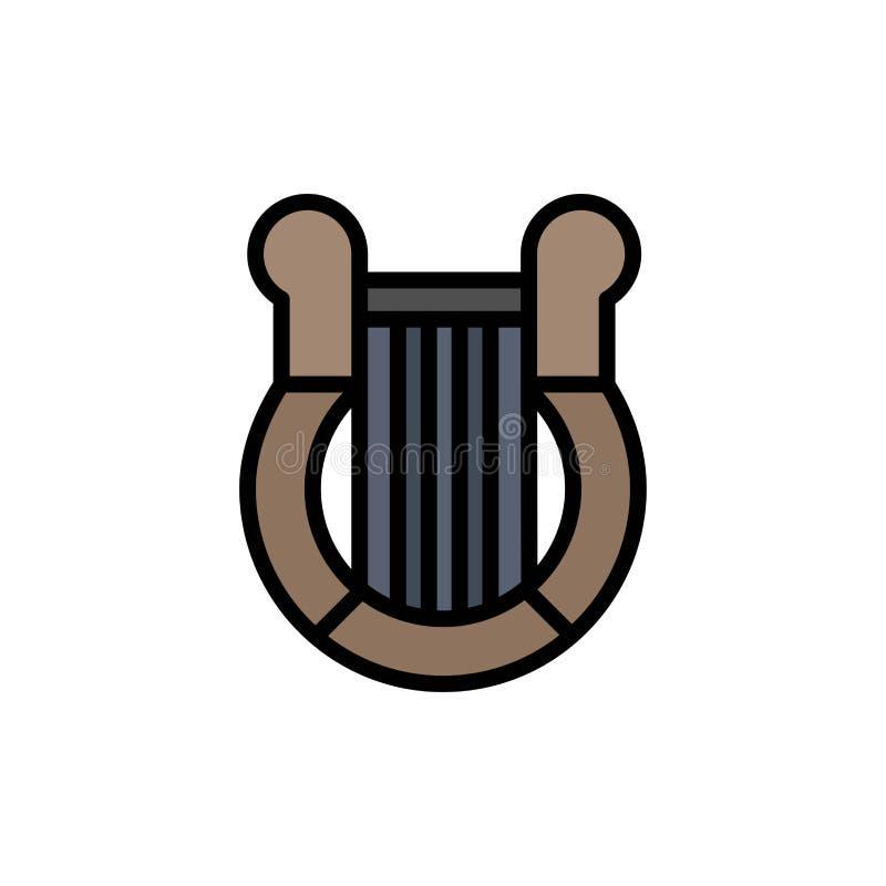 Cultura, Grecia, arpa, historia, icono plano del color de la nación Plantilla de la bandera del icono del vector ilustración del vector