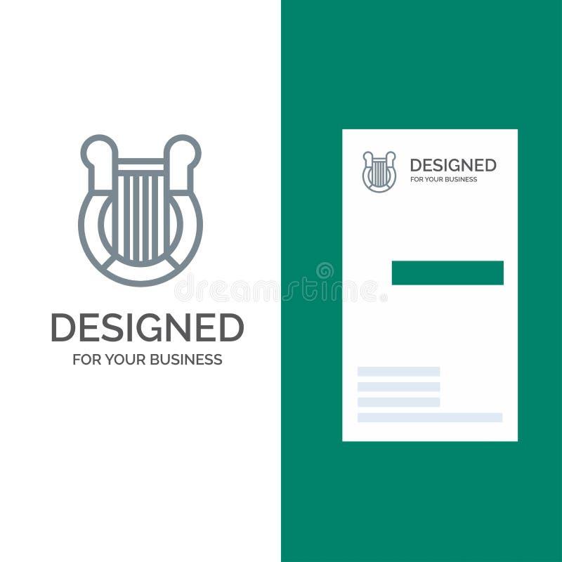 Cultura, Grecia, arpa, historia, nación Grey Logo Design y plantilla de la tarjeta de visita stock de ilustración