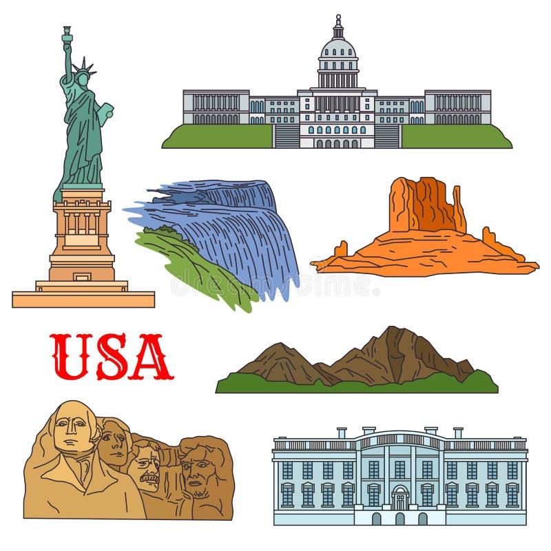 Cultura, historia, vistas del viaje de la naturaleza del icono de los E.E.U.U. ilustración del vector