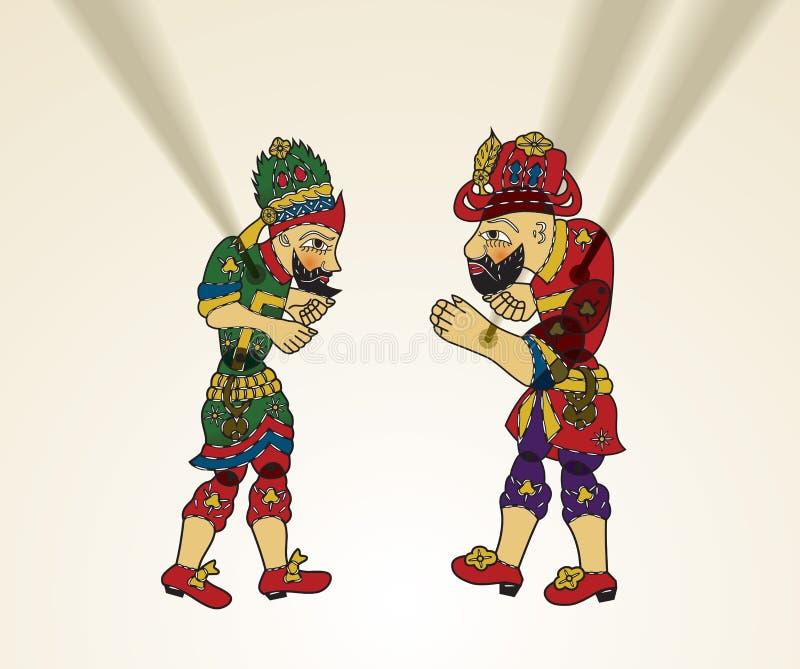 Cultura, karagoz y hacivat turcos stock de ilustración