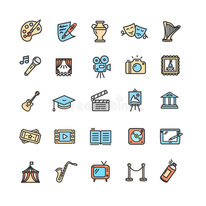 Cultura y Art Icons Set fino creativo Vector stock de ilustración