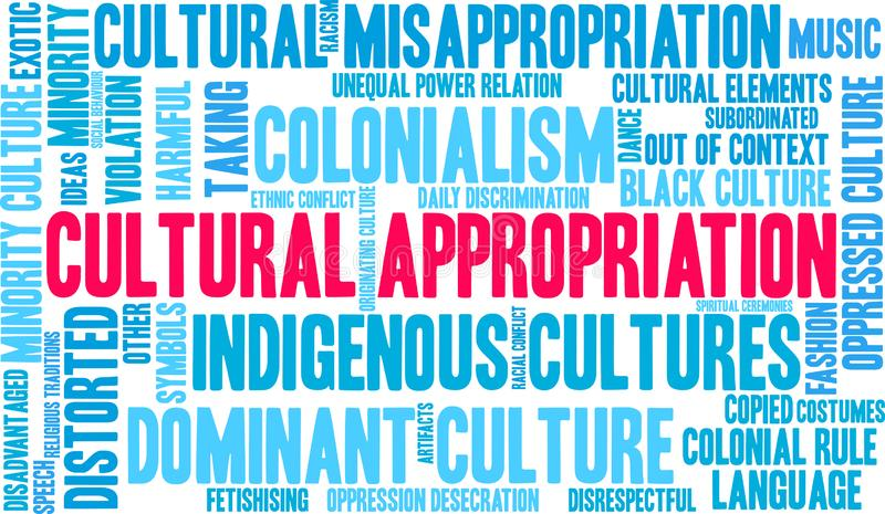 Cultural Appropriation Word Cloud. On a white background vector illustration
