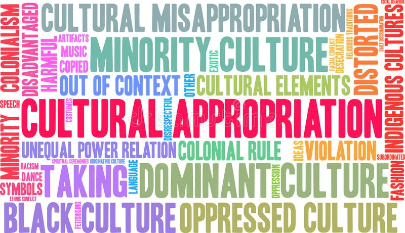 Cultural Appropriation Word Cloud. On a white background royalty free illustration