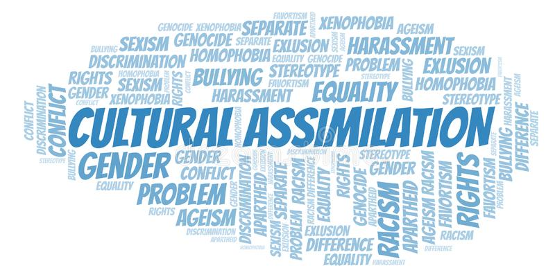 Cultural Assimilation - type of discrimination - word cloud. Wordcloud made with text only vector illustration