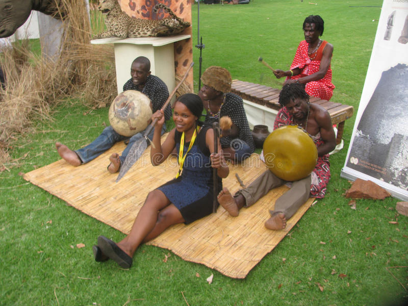 Cultural band playing African traditional musical instruments. Harare,Zimbabwe,6 June 2016.A band of cultural and traditional musicians playing traditional stock images