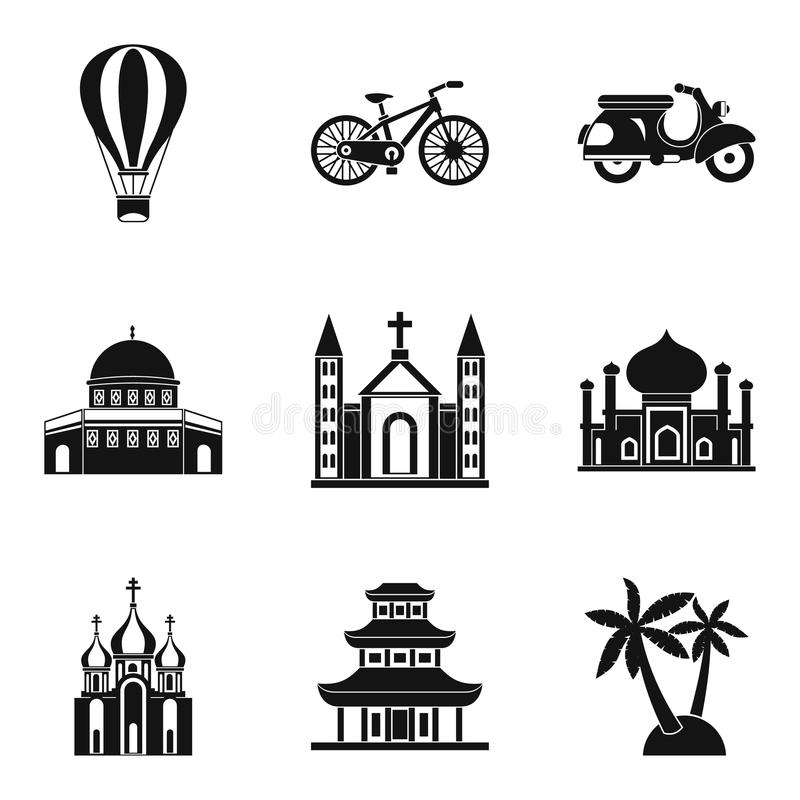 Cultural distinction icons set, simple style. Cultural distinction icons set. Simple set of 9 cultural distinction vector icons for web isolated on white royalty free illustration
