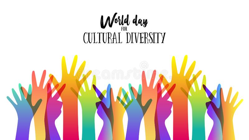 Cultural Diversity Day diverse hand concept illustration. Cultural Diversity Day illustration card of diverse human hands united for social freedom and peace vector illustration