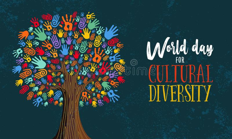 Cultural Diversity Day tree hand concept illustration. Cultural Diversity Day illustration for help and social love. Tree made of colorful human hands concept vector illustration