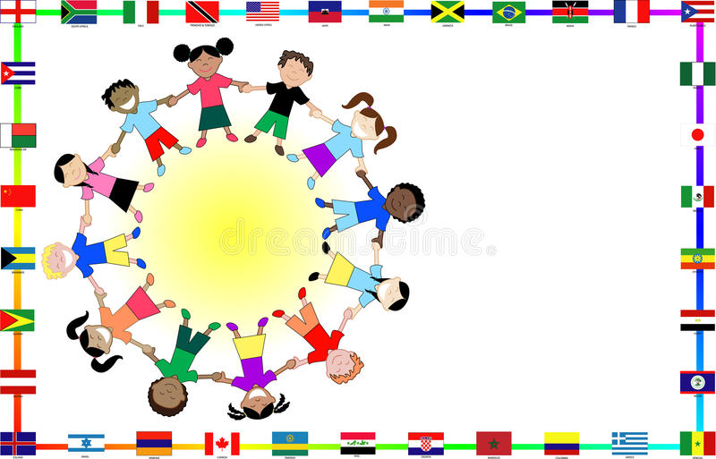 Cultural kids with flags. Vector Illustration for cultural event showing diversity and 36 different flags vector illustration