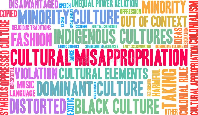 Cultural Misappropriation Word Cloud. On a white background vector illustration
