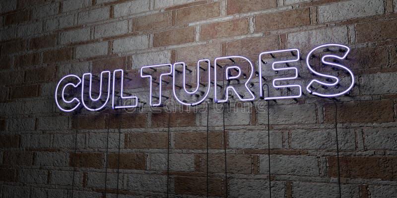 CULTURAS - Sinal de néon de incandescência na parede da alvenaria - 3D rendeu a ilustração conservada em estoque livre dos direit ilustração do vetor