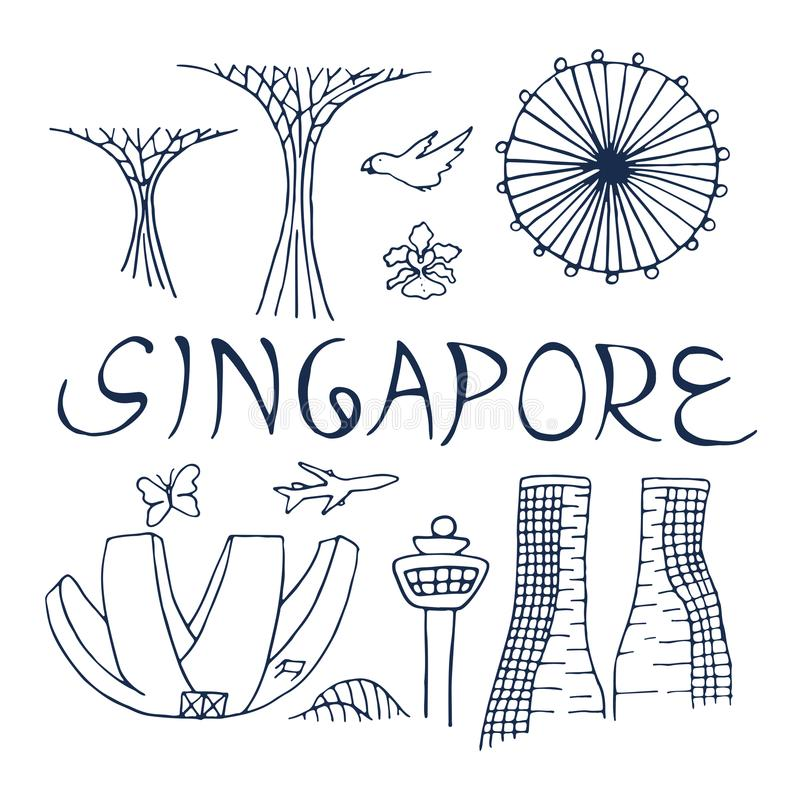 Download Culture And Architecture Of Singapore Symbols Stock Illustration
