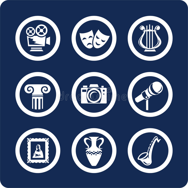 Culture and Art icons (set 12, part 1) stock images