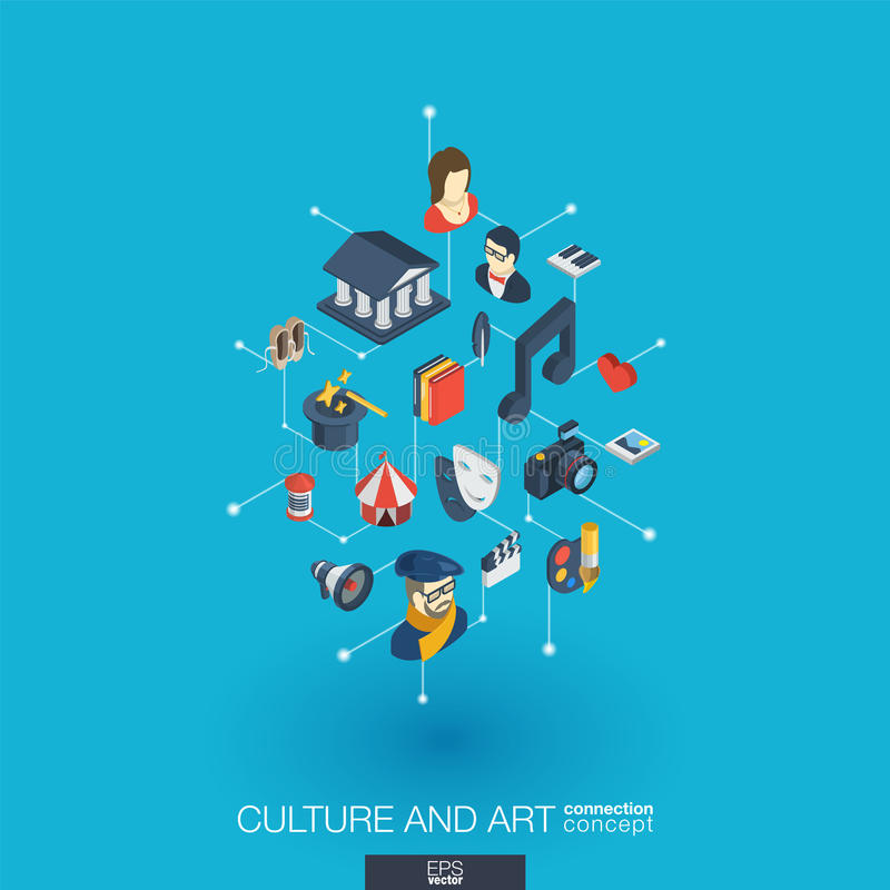 Culture and art integrated 3d web icons. Digital network isometric concept vector illustration