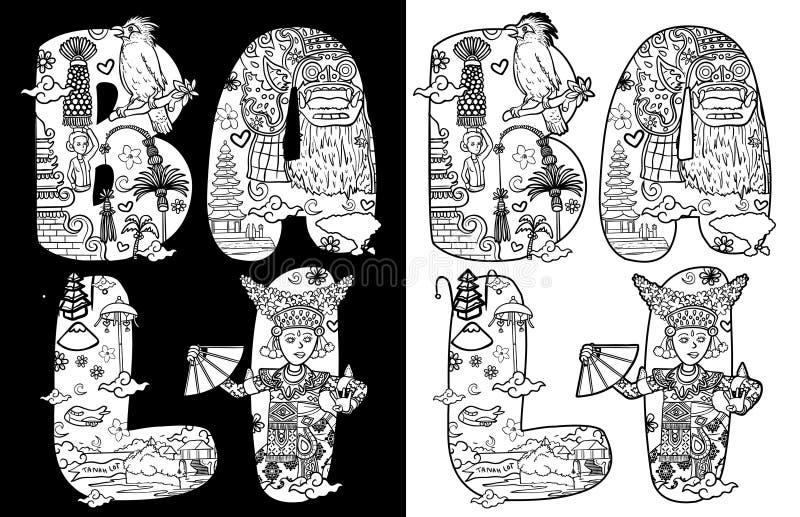 Culture of bali indonesia in custom font lettering illustration black white version royalty free illustration