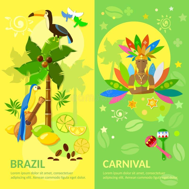 Culture brésilienne de Brésilien de carnaval de bannières du Brésil illustration libre de droits