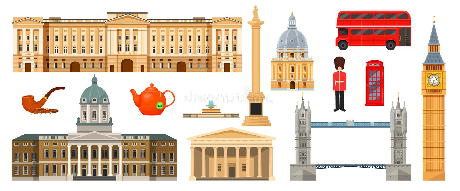 Culture, buildings and attractions of London, Great Britain, United Kingdom. Culture, landmarks, attractions of London, Great Britain, United Kingdom. Museum stock illustration