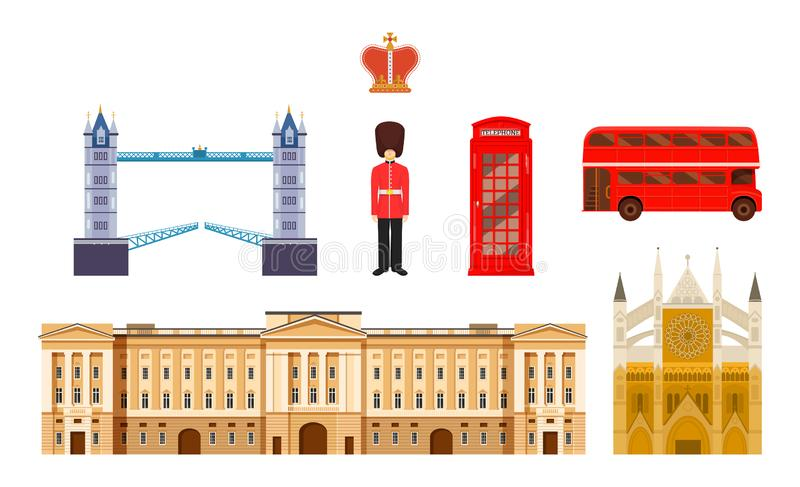 Culture, buildings and attractions of London, Great Britain, United Kingdom. Travel to England. Landmarks, building, attractions of London, Great Britain stock illustration