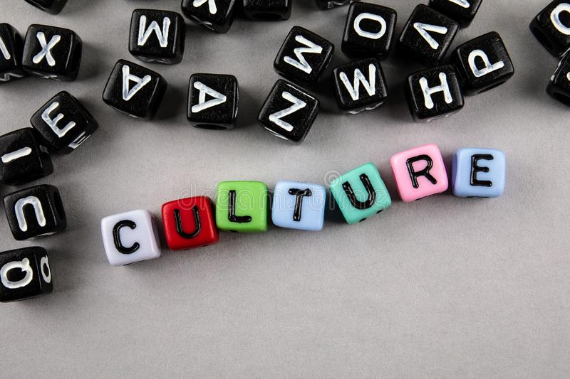 Culture concept. Text from alphabet lettersr. Culture concept. Text from alphabet letters. Informative and communication background stock photo