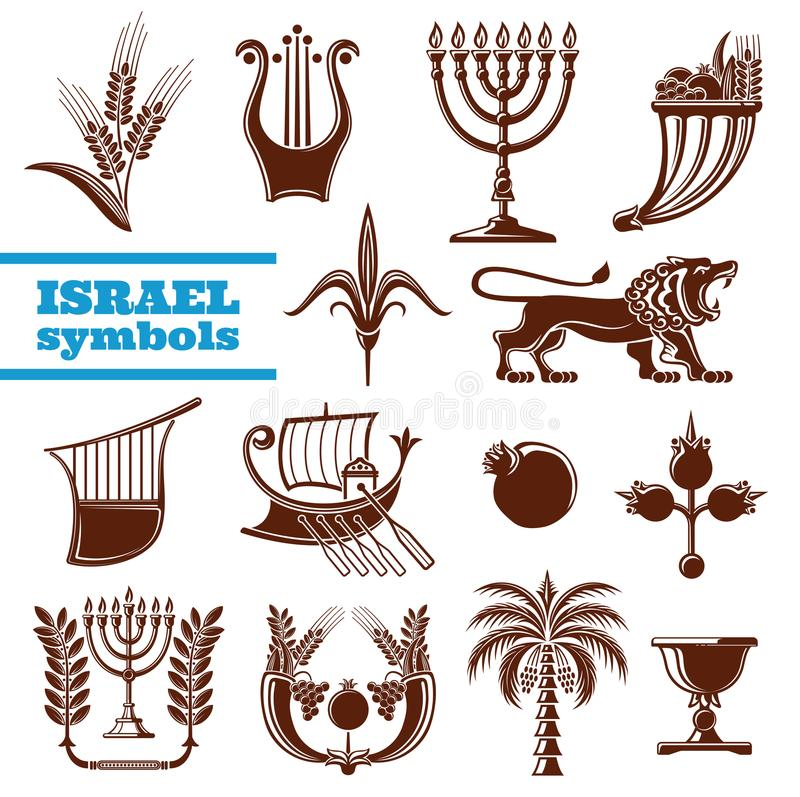 Culture de l'Israël, histoire, symboles de religion de judaism illustration stock