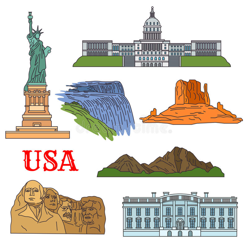 Culture, history, nature travel sights of USA icon. USA travel landmarks of culture, history and nature thin line icon with the statue of Liberty, Grand Canyon vector illustration