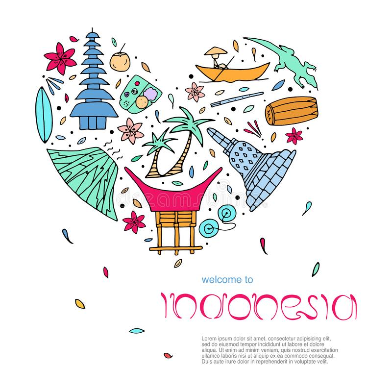 Culture of Indonesia design concept in the form of heart with te stock illustration