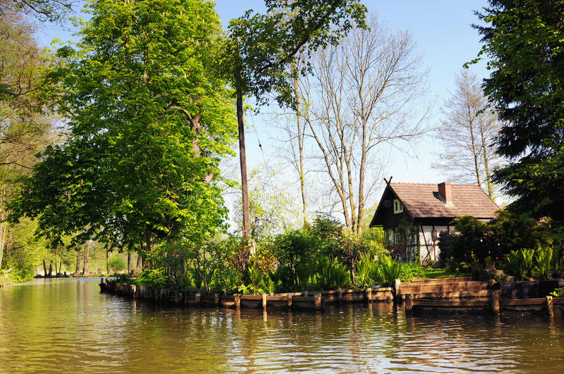 Culture landscape of Spreewald forest in Brandenburg Germany. Traditional Spreewald settlements at river Spree Luebbenau Germany. Land formed by spree river and stock photos